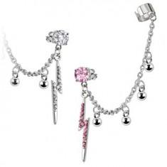 Šperky eshop - Náušnica z ocele s retiazkou - číry zirkón v puzetke, zirkónový blesk N29.35 - Farba zirkónu: Číra - C
