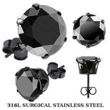 Čierne puzetové náušnice z ocele - čierny zirkón v kotlíku