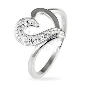 Strieborný prsteň 925 - nepravidelné srdce so zirkónovou polovicou