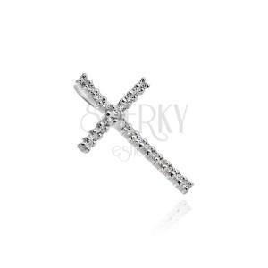 Strieborný prívesok 925 - veľký trblietavý zirkónový kríž