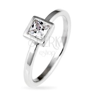 Strieborný prsteň 925 - vystúpený štvorcový zirkón v objímke