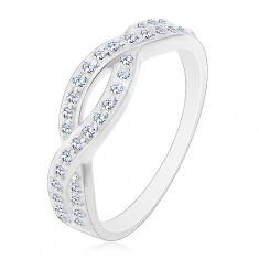 c432b8b20 Šperky eshop - Prsteň zo striebra 925 - prepletaný vzor s čírymi zirkónmi  E8.9 - Veľkosť: 50 mm