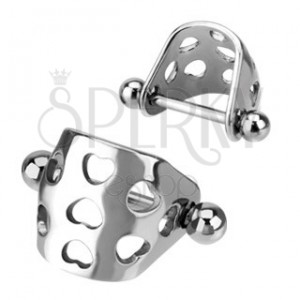 Oceľový piercing do chrupavky - oblúčik so srdcovými výrezmi