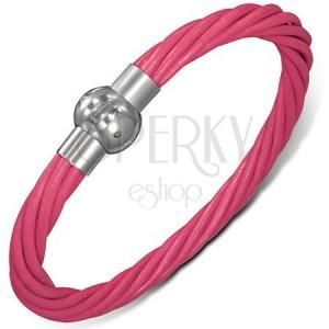 Náramok z kože - ružové točené šnúrky, zapínanie na magnet