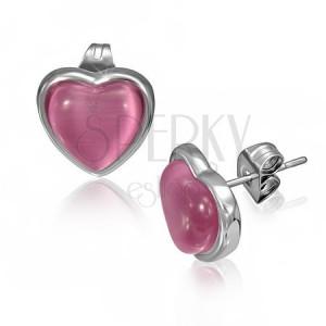 Oceľové náušnice s ružovým kameňom v tvare srdca v objímke
