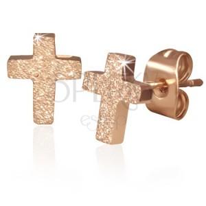 Oceľové náušnice s plochým pieskovaným krížom