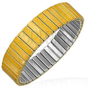 Náramok z ocele - rozkladací pás v trblietavej žltej farbe