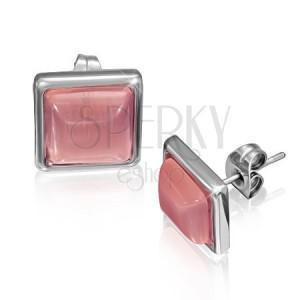 Štvorcové náušnice z ocele s ružovkastým kameňom v objímke