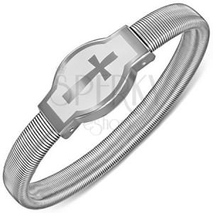 Rozťahovací náramok z ocele s potlačou kríža na známke