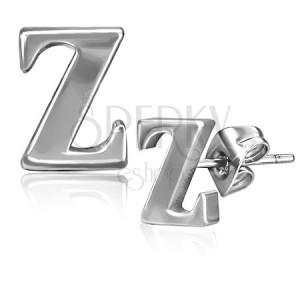 Oceľové náušnice - písmenko Z, puzetky