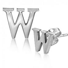 Puzetové oceľové náušnice - tlačené písmeno W