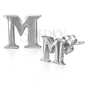 Puzetové náušnice z ocele - tlačené písmeno M