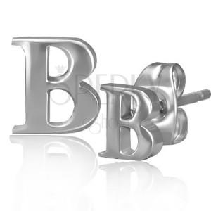 Oceľové náušnice - lesklý tvar písmena B