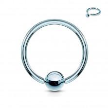 Titánový piercing - krúžok s lesklou guličkou uprostred