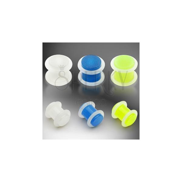Plug do ucha UV žiarivý v tme, 2 O gumičky