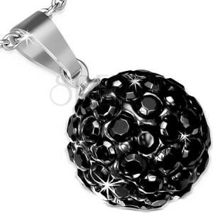 Oceľový prívesok - SHAMBALLA gulička v čiernej farbe