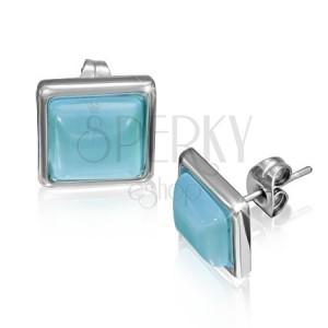 Štvorcové náušnice z ocele s modrastým kameňom v objímke