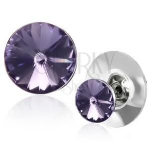 Náušnice z medi - platinová objímka s fialovým SWAROVSKI kryštálom