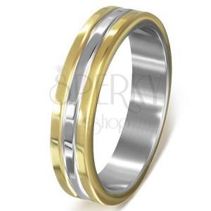 Prsteň z chirurgickej ocele - pásy zlatej a striebornej farby s vrúbkami