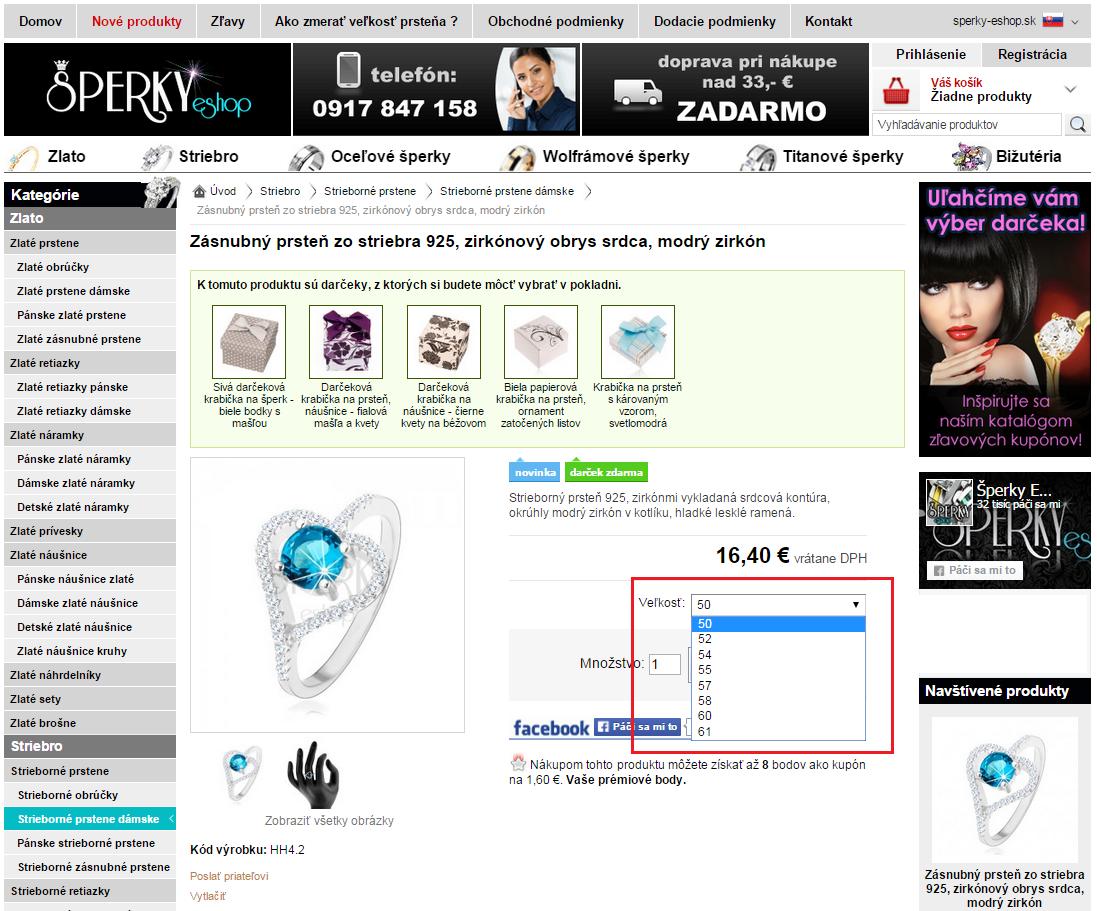 Na našej webovej stránke si môžete vybrať z ponúkaných veľkostí prsteňov v  rozbaľovacom okne pri konkrétnom prsteni. 6a947c92b12